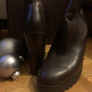 Michael Kors Brown Leather Wedge Ankle Booties
